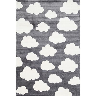 Piccolo Clouds Turkish Made Kids Rug, 160x230cm, Charcoal