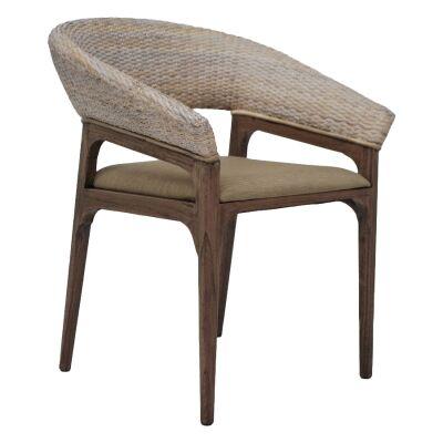 Halton Rattan & Mindi Wood Dining Armchair, Dark Walnut
