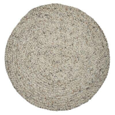 Plait Handwoven Round Wool Rug, 100cm, Natural