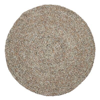 Plait Handwoven Round Wool Rug, 100cm, Beige