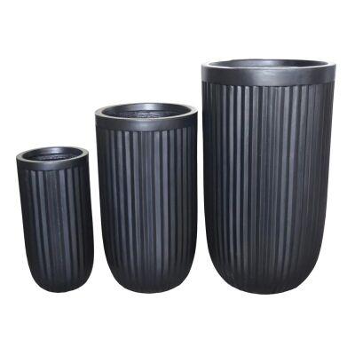 Cos 3 Piece Urn Planter Set, Black