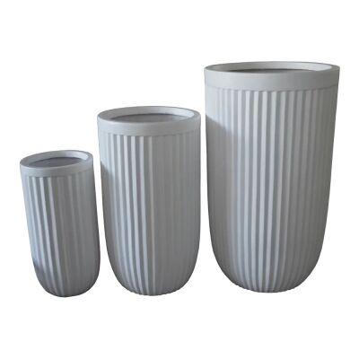 Cos 3 Piece Urn Planter Set, White