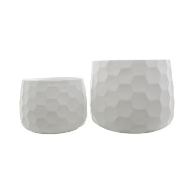 Beil 2 Piece Ceramic Pot Set, Large, White