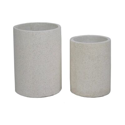 Venda 2 Piece Terrazzo Cylinder Pot Set