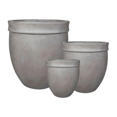 Lannard 3 Piece Cement Pot Set