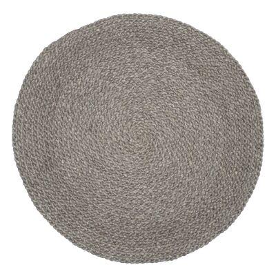 Plait Handwoven Round Wool Rug, 100cm, Grey