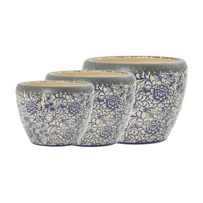 Melia 3 Piece Distressed Ceramic Planter Set
