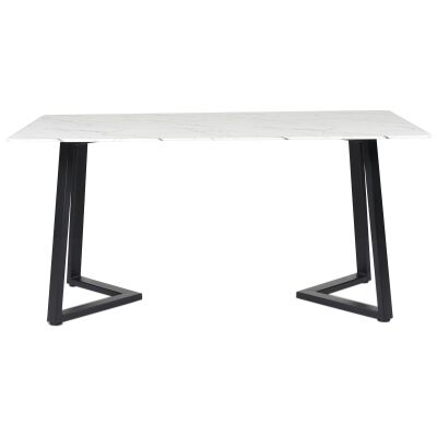 Kingsley Marble Effect Dining Table, 160cm