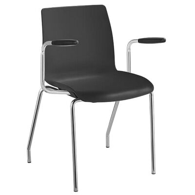 Pod Stackable Client Chair with Arm, 4 Leg, Black