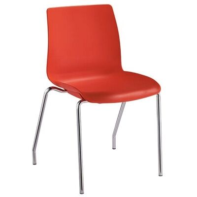 Pod Stackable Client Chair, 4 Leg, Red