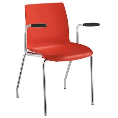Pod Stackable Client Chair with Arm, 4 Leg, Red