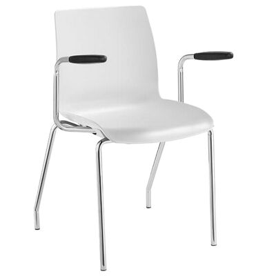 Pod Stackable Client Chair with Arm, 4 Leg, White