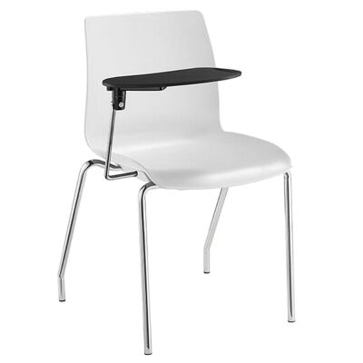 Pod Stackable Lecture Chair, 4 Leg, White