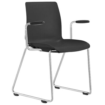 Pod Client Chair with Arm, Sled Leg, Black