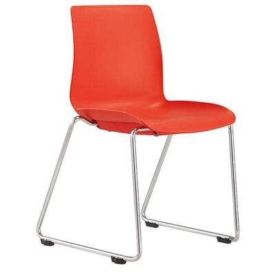 Pod Stackable Client Chair, Sled Leg, Red