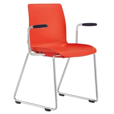 Pod Client Chair with Arm, Sled Leg, Red