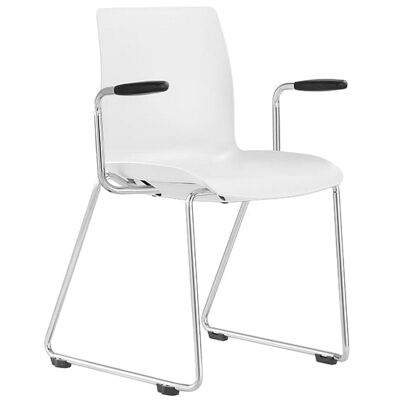 Pod Client Chair with Arm, Sled Leg, White