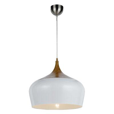 Polk Metal Pendant Light, Medium, Whtie / Oak