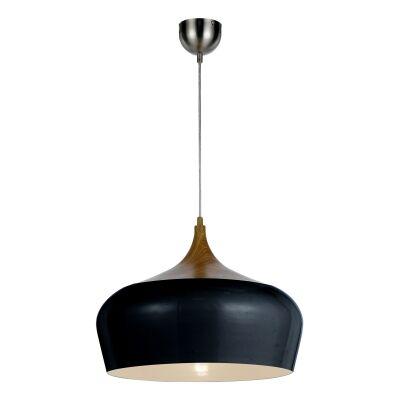 Polk Metal Pendant Light, Large, Black / Oak