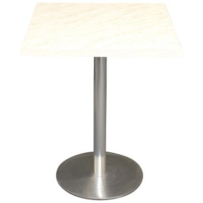 Caltana Commercial Grade Square Dining Table, 60cm, Light Marble