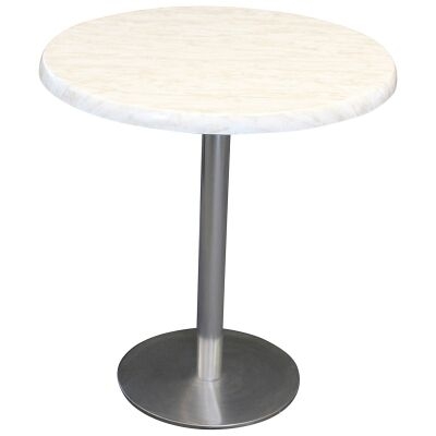 Caltana Commercial Grade Round Dining Table, 70cm, Light Marble