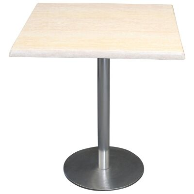Caltana Commercial Grade Square Dining Table, 70cm, Travertine