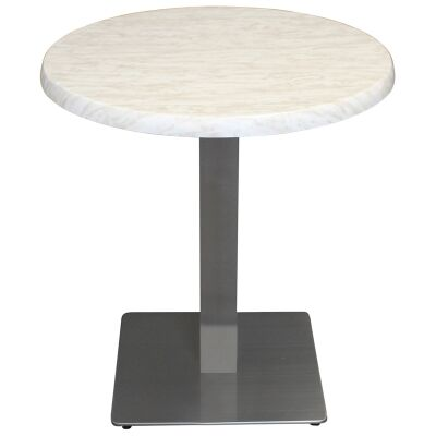 Barona Commercial Grade Round Dining Table, 80cm, Light Marble