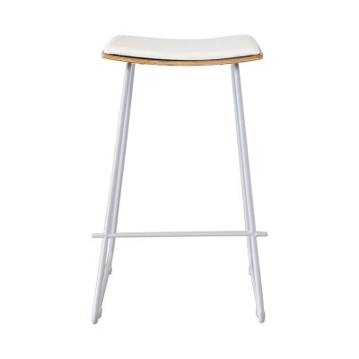 Porter Commercial Grade Steel Bar Stool with PU Seat, White