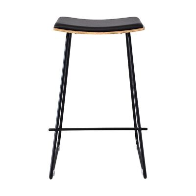 Porter Commercial Grade Steel Bar Stool with PU Seat, Black