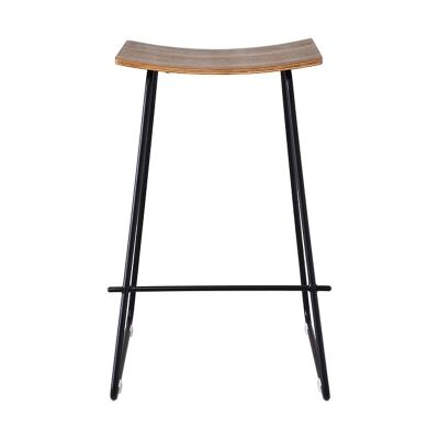 Porter Commercial Grade Steel Bar Stool, Walnut / Black