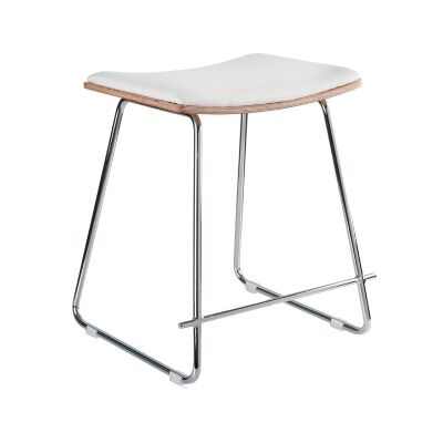 Porter Commercial Grade Steel Table Stool with PU Seat, White / Chrome