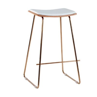 Porter Commercial Grade Steel Bar Stool with PU Seat, White / Rose Gold