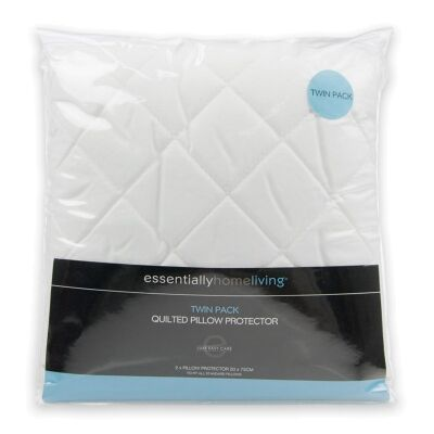 Essentially Home Living Quilted Microfibre Pillow Protector, Twin Pack