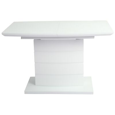 Stella Glass Top Extendable Dining Table, 120-160cm, White