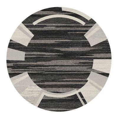Serenity Morgan Modern Round Rug, 160cm Dia, Black