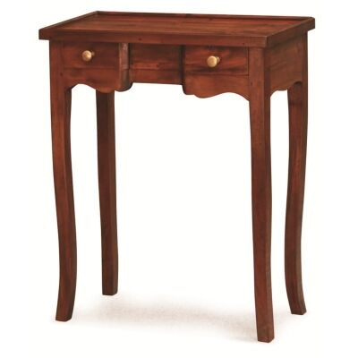Queen Ann Solid Mahogany Timber 2 Drawer Phone Table - Mahogany