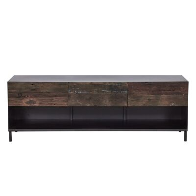 Pure Commercial Grade Industrial Reclaimed Timber & Iron 3 Drawer TV Unit, 160cm