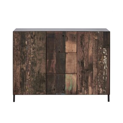 Pure Commercial Grade Industrial Reclaimed Timber & Iron 2 Door 3 Drawer Sideboard, 120cm