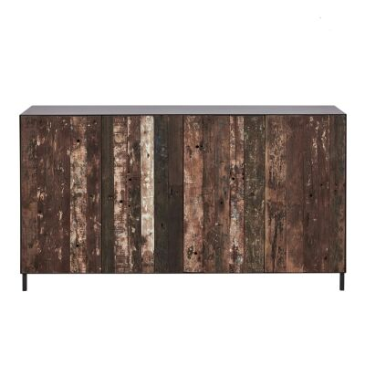 Pure Commercial Grade Industrial Reclaimed Timber & Iron 4 Door Sideboard, 160cm