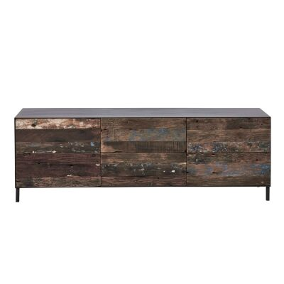 Pure Commercial Grade Industrial Reclaimed Timber & Iron 6 Drawer TV Unit, 160cm