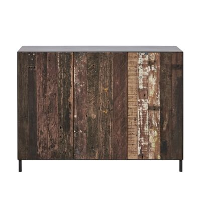 Pure Commercial Grade Industrial Reclaimed Timber & Iron 3 Door Sideboard, 120cm