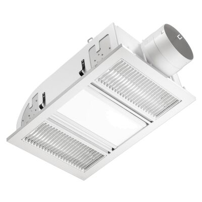 Ventair Airbus 3-in-1 Filament Radiant Bathroom Heater with Exaust & LED Panel Light, White