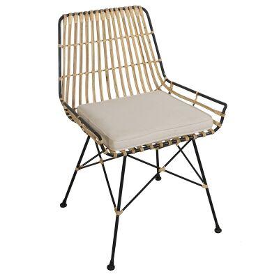 Georgia Rattan & Steel Dining Chair with Fabric Cushion