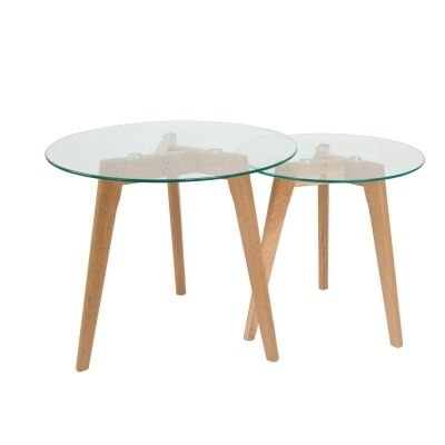 Patterson 2 Piece Glass Topped Oak Timber Round Nesting Table Set