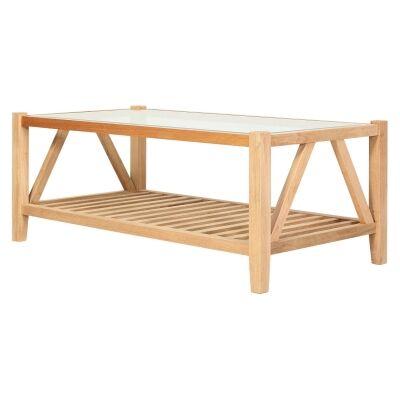 Oslo Oak Timber Coffee Table, Glass Top, 120cm