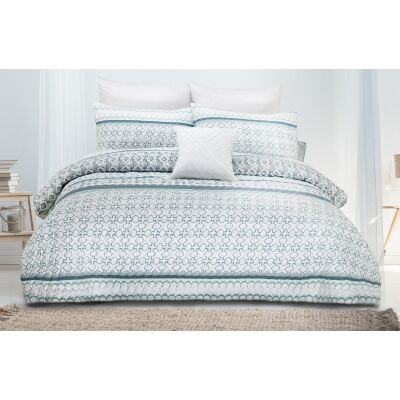 Gemma 3 Piece Printed Embossed Quilt Cover Set, Double