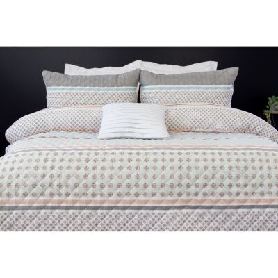 Tyler 3 Piece Printed Embossed Quilt Cover Set, Queen