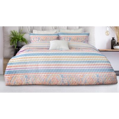 Ashley 3 Piece Printed Embossed Quilt Cover Set, Double