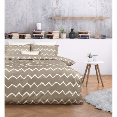 Essentially Home Living Zachary Microfibre Quilt Cover Set, Double, Taupe