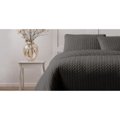 Ardor Boudoir Maya Quilted Quilt Cover Set, Single, Charcoal